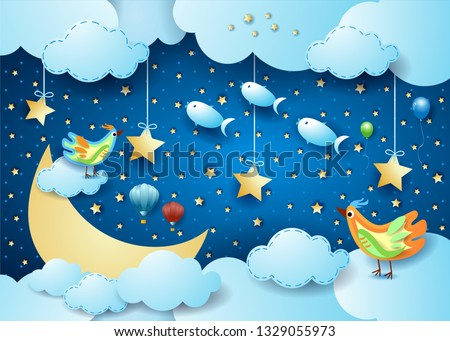 Stock Photo Surreal night with big moon, birds, balloons and flying fisches. Vector illustration eps10