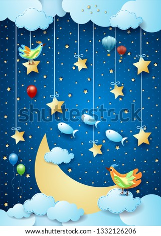 Stock Photo Surreal night with big moon, birds, balloons and flying fishes. Vector illustration eps10