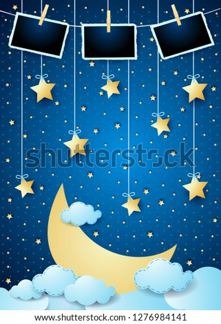 Stock Photo Surreal night with big moon, hanging stars and photo frames. Vector illustration eps10