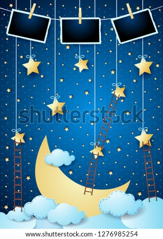Stock Photo Surreal night with big moon, ladders and photo frames. Vector illustration eps10