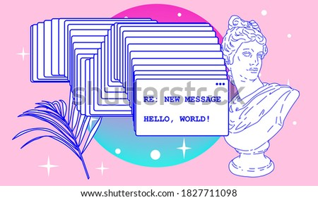Surreal retrofuturistic vector illustration of user interface with Roman antique statue in cartoon anime or manga style.