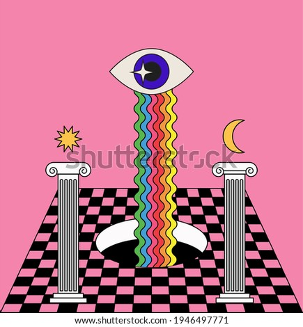 Surreal room interior with a checkerboard floor and pillars. Trendy pop art psychedelic style illustration. Foto stock ©
