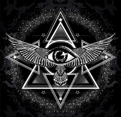 Surreal symbol. Sacred geometry with all seeing eye and wings. Sketch for print t shirt and tattoo art. Ancient symbol. Magic mandala with eye of providence. Stylized collapsar with mystical sign.