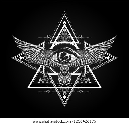 Surreal symbol. Sacred geometry with all seeing eye and wings.Sketch for print t shirt and tattoo art. Ancient symbol. Magic mandala with eye of providence. Alchemy, astrology, astronomy,mystic,occult