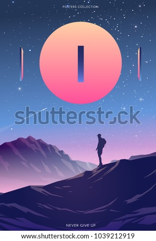 Surreal vector poster. Motivation and success. Never give up.