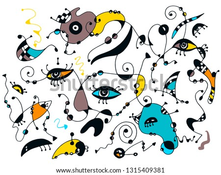 Surrealistic background  with abstract eyes, shapes, arrows, wavy lines and dots. Hand drawn doodle illustration. Yellow, aqua, orange and teal colours on white.