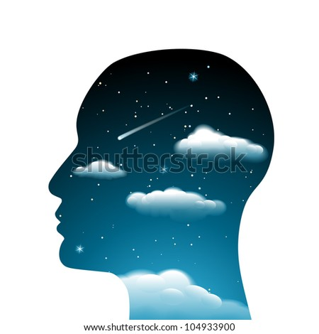 Surrealistic head with clouds and night sky, vector