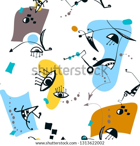 Surrealistic seamless vector pattern with abstract eyes, shapes, dots and arrows. Psychedelic drawing. Expressionism and surrealism art style. Aqua, yellow, mustard colors on white background.
