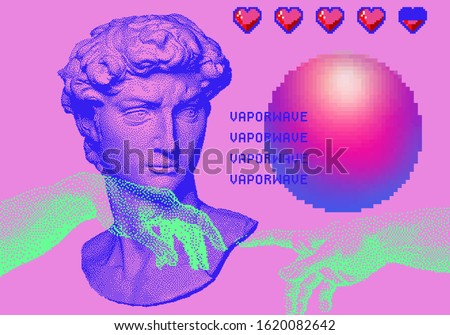 Surrealistic vector pixel art ilustration with Michelangelo's David bust, hearts and glowing sphere. Vaporwave and retrowave style, postmodern aesthetics with Renaissance's masterpiece elements.