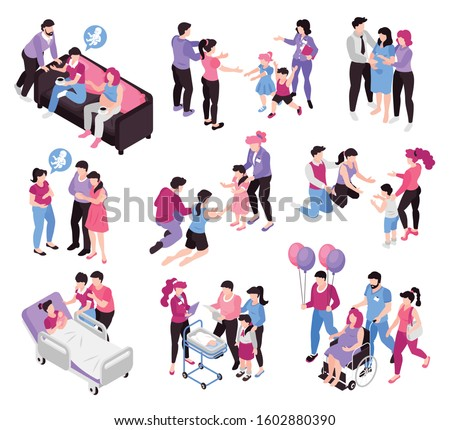 Surrogacy agencies service pregnancy adoption custody potential parents meeting welcoming kids home isometric compositions set vector illustration