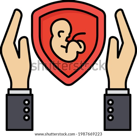 surrogacy insurance concept, womb shield vector color icon design, Financial loss Protection Symbol, Risk management Sign, Family Maternity medical insurance stock illustration Photo stock ©