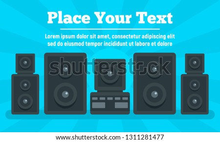 Surround stereo system concept banner. Flat illustration of surround stereo system vector concept banner for web design