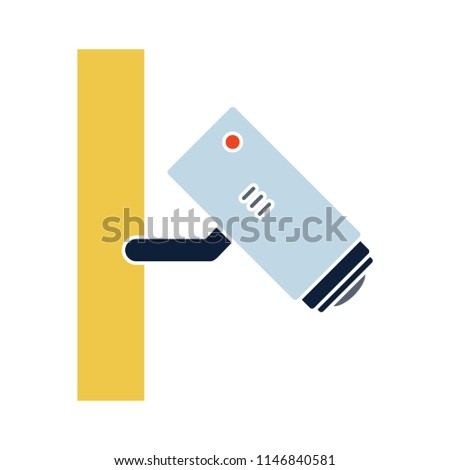 Surveillance Camera illustration, vector security cctv Camera isolated - security protection sign symbol