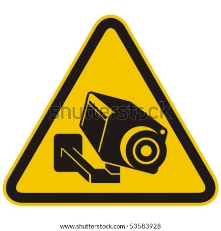 Surveillance camera warning sign. Vector illustration. - stock vector
