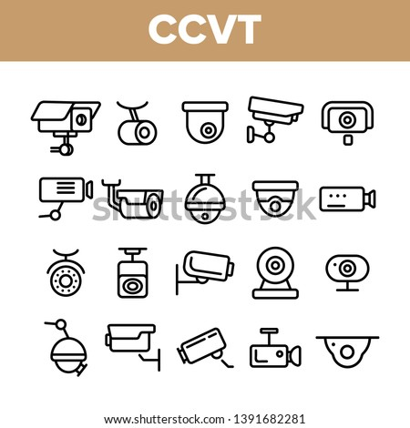 Surveillance Cameras, CCTV Linear Icons Vector Set. Security System, CCTV Thin Line Illustrations Collection. Home Safety Equipment. Wall, Ceiling Surveillance Cam Types Outline Symbols