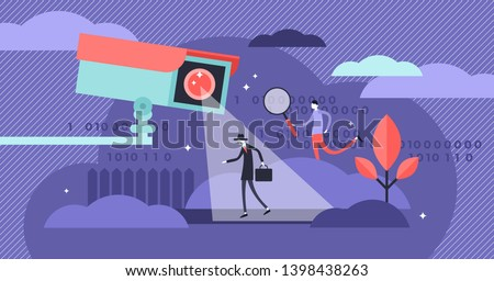 Surveillance vector illustration. Flat tiny security camera person concept. Safety equipment for protection control. Spy, guard and detective monitoring. Criminal and thief crime CCTV warning detector