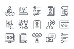 Survey and Questionnaire related line icon set. Checklist vector linear icon collection. Quiz and feedback report outline icons.