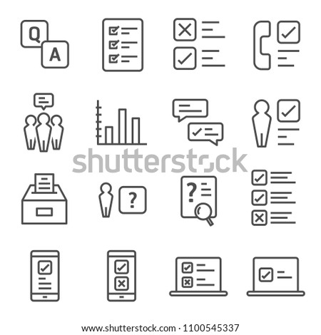Survey and Questionnaire vector icon set. Included the icons as checklist, poll, vote, mobile, online survey, phone interview, result and more