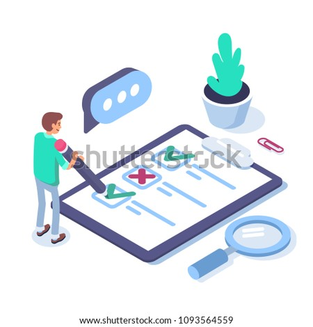 Survey concept banner with characters. Can use for web banner, infographics, hero images. Flat isometric vector illustration isolated on white background.