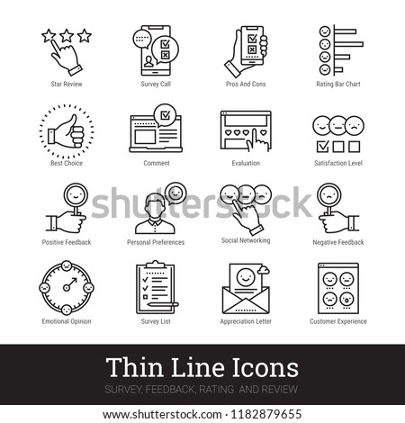 Survey, feedback, rating and review thin line icons. Modern linear illustration concept for social networks, web & mobile app. Checklist, quiz, emotional opinion, star review vector icons collection.