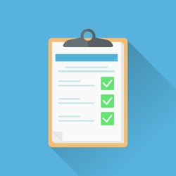 Survey form sheet vector illustration. Flat style good exam results on paper clipboard. quiz form idea, interview assessment, passed questionnaire, isolated on color background.