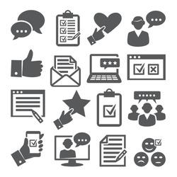 Survey icons set on white background