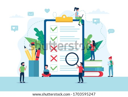 Survey of customer satisfaction. Big paper with ticks and crosses. Small people characters. Vector illustration in flat style