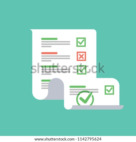 Survey or exam form long paper sheet with answered quiz checklist and success result assessment, idea of education test questionnaire, document vector illustration flat cartoon design. Checklist doc