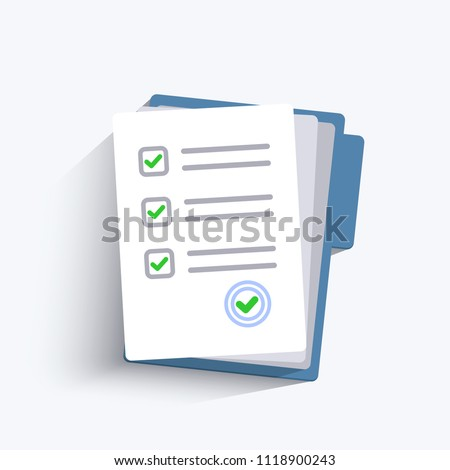 Survey or exam form paper sheets pile. Exam form. Checklists with answered quiz checklist and success result assessment. Isolated vector illustration in flat design.