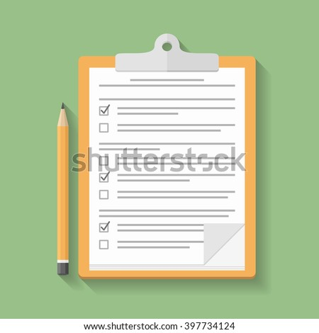 Survey or test concept, clipboard with documents with check boxes and pencil, flat design, vector eps10 illustration