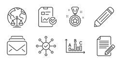 Survey results, Mail and Survey check line icons set. Report checklist, Magistrates court and Article signs. Pencil, Winner reward symbols. Best answer, New messages, Correct answer. Vector