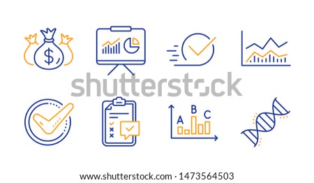 Survey results, Trade infochart and Confirmed line icons set. Checklist, Presentation and Check investment signs. Checkbox, Chemistry dna symbols. Best answer, Business analysis. Vector
