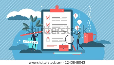 Survey vector illustration. Flat mini persons concept with quality test and satisfaction report. Feedback from customers or opinion form. Client answers understanding with professional research team.