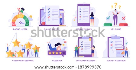 Survey Vector Illustration Set. People Giving Feedback, Choosing Answer, Making Decision and Research. Collection of Online Survey, Customer Review, Voting, Checklist, Client Feedback for Web Design Foto d'archivio ©