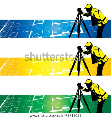 surveyor on a architectural drawing background - stock vector