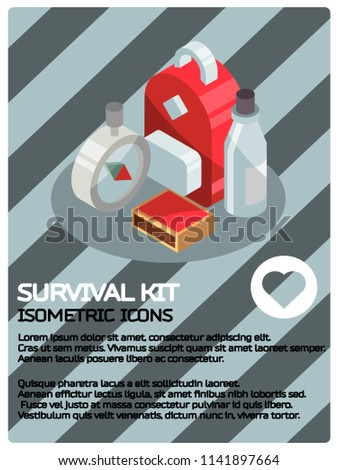 Survival kit color isometric poster. Vector illustration, EPS 10