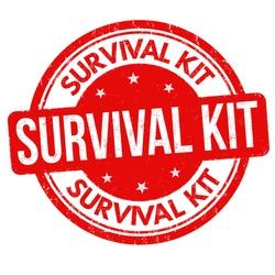 Survival kit grunge rubber stamp on white background, vector illustration