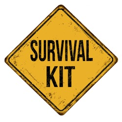 Survival kit vintage rusty metal sign on a white background, vector illustration