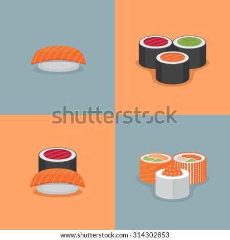 sushi and roll illustration set