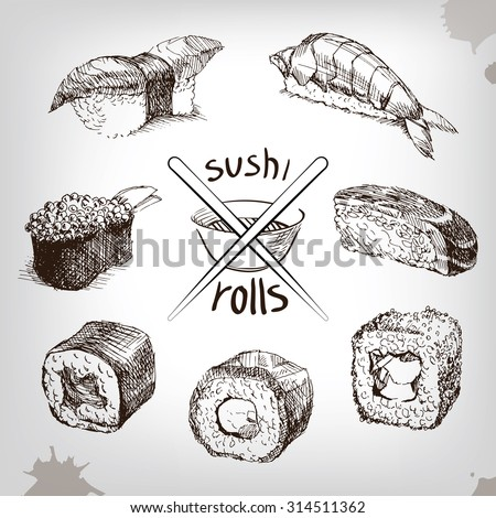 sushi and rolls  hand drawing