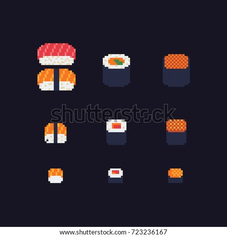 sushi and rolls pixel art icons set, vector illustration.
