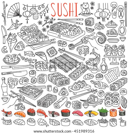 Sushi and rolls set. Japanese traditional cuisine dishes - nigiri, temaki, tamago, sashimi, uramaki, futomaki. Freehand vector drawing isolated on white background for asian restaurant menu.