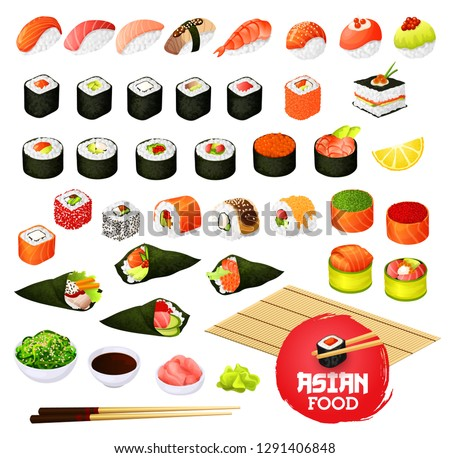 Sushi and rolls types, Japanese cuisine cooking. Vector temaki and sashimi, ikura and kappa or syaki with tekka maki, kappamaki and uramaki. Gunkan and inari sushi with shrimp, salmon or eel nagiri Stok fotoğraf ©