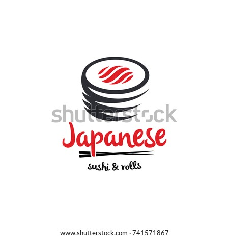 Sushi and rolls with chopstick bar or restaurant vector logo template. Japanese or chinese traditional cuisine, tasty food icon. Abstract black and red color for asian sushi bar emblem.