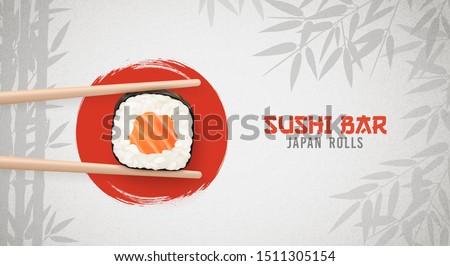 Sushi bar ads. Sushi and rolls poster, horisontal flyer. Realistic vector illustration