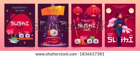Sushi bar flyers with japanese food, red asian lanterns and waitress in kimono. Vector cartoon set of advertising posters for cafe or restaurant with rolls, rice and seafood