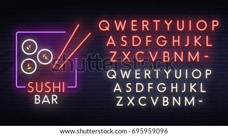 Sushi bar neon sign, bright signboard, light banner.  Logo, emblem. Neon sign creator. Neon text edit