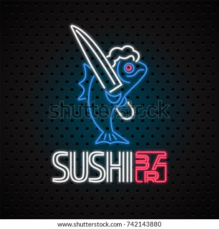 Sushi bar vector logo, icon with neon sign. Design for sushi delivery, Japan restaurant with fish in electric neon lights
