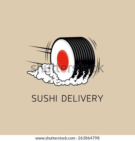 Sushi delivery logo template (concept). Vector illustration. Sushi roll sign as a smoking wheel symbolize fast delivery service.