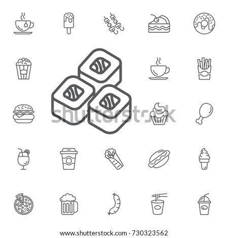 sushi dish icon on the white background. Simple Set of FAST FOOD Vector Line Icons.